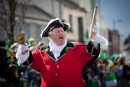 GALWAY, IRELAND - MARCH 17: L. Silke, Galway Town Crier performing at the annual traditional St. Patrick  Day Parade on March 17, 2012