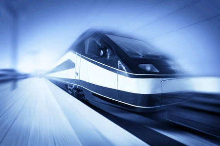 rail route: High-speed modern intercity train with motion blur, abstract Editorial