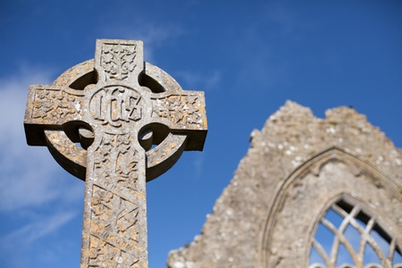 celtic cross: Stone cross and Athenry Dominican Friary detail,found at 1241,