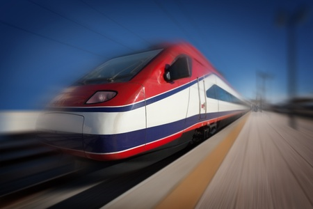 High-speed modern intercity train with motion blur, abstract
