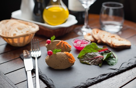 higado de pollo: Inicio Paté de hígado de pollo, Mermelada de Cebolla en la placa de piedra