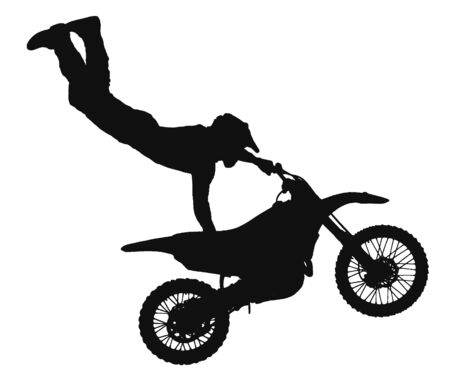 silhouette of freestyle motocross rider jumping through the air photo