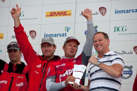 GALWAY, IRELAND - JULY 7: Skipper Chris Nicholson , Australia and CAMPER with Emirates Team New Zealand, with the award for second  place in the Discover Ireland In-Port Race, during the Volvo Ocean Race 2011-12, at the public prize giving, on July 7, 201