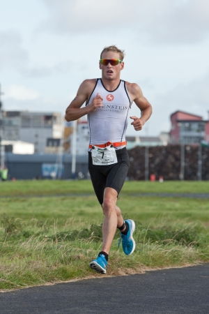 september 2: GALWAY, IRELAND - SEPTEMBER 2: Pro athlete Jan Van Berkel (7), Winner, competing at the Course � Run during 2nd Edition of the annual Ironman 70.3 Galway 2012 Triathlon,on September 2, 2012 in Galway, Ireland.