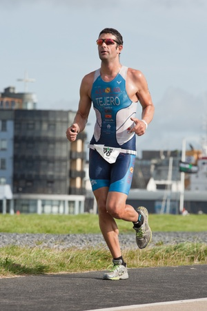 sergio: GALWAY, IRELAND - SEPTEMBER 2: Athlete Sergio Tejero V�zquez (498) competing at the Course � Run, during 2nd Edition of the Ironman 70.3 Galway 2012 Triathlon, on September 2, 2012 in Galway, Ireland. Editorial