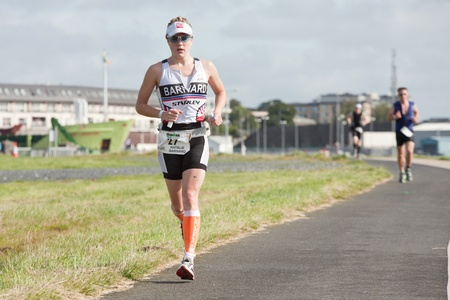 GALWAY, IRELAND - SEPTEMBER 2: Athlete Natalie Barnard ( 27), 3rd place in category Female PRO , competing at the Course � Run, during 2nd Edition of the Ironman 70.3 Galway 2012 Triathlon, on September 2, 2012 in Galway, Ireland.