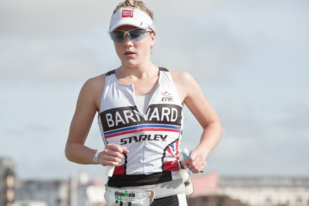 september 2: GALWAY, IRELAND - SEPTEMBER 2: Athlete Natalie Barnard ( 27), 3rd place in category Female PRO , competing at the Course � Run, during 2nd Edition of the Ironman 70.3 Galway 2012 Triathlon, on September 2, 2012 in Galway, Ireland. Editorial