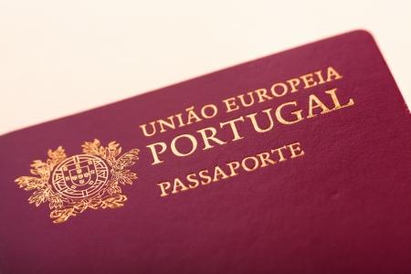 Detail of Portuguese passport close-up, shallow DOF Stock Photo