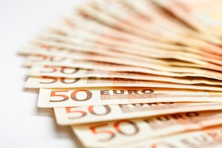 50 euro: European banknotes, 50 Euro, close-up, shallow DOF
