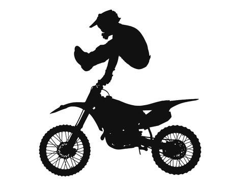stunts: silhouette of freestyle motocross rider jumping through the air