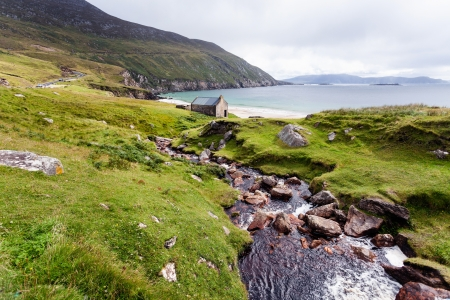 Beautiful landscape with mountains and ocean  Achill Ireland, view at Keem beach