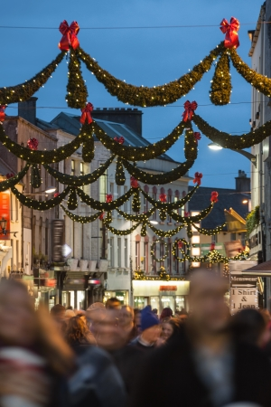 shop street at night illuminated with christmas lights galway ireland stock photo 24694414