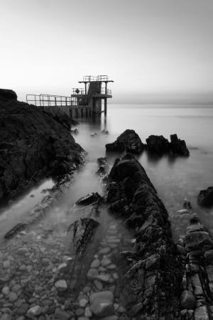 blackrock: Before the Sunrise at Blackrock diving board. Salthill, Galway, BW
