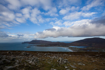 keel: View at Keel and Slievemore mountain  from Minaun, Achill island.