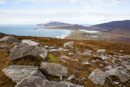achill: View at Keel and Slievemore mountain  from Minaun, Achill island.