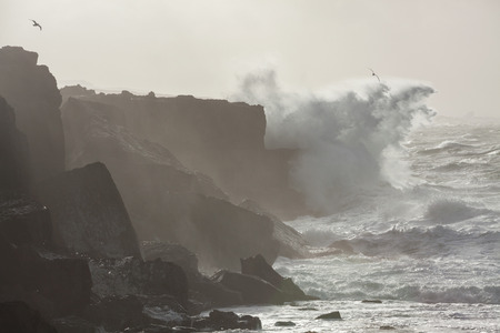 winter storm: Big waves breaking on cliffs during winter storm on the west coast of Ireland. Stock Photo