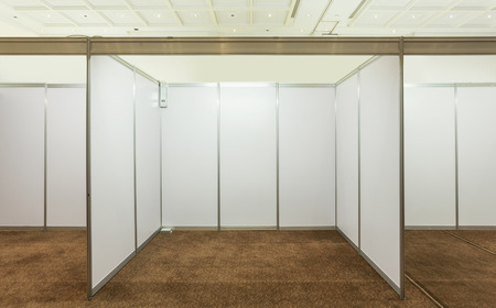 business exhibition: Booth with lighting inside the Trade show pavilion Stock Photo