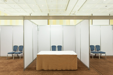 Booth With Lighting Inside The Trade Show Pavilion Stock Photo ...