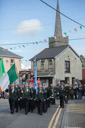 irish easter: ATHENRY, IRELAND - MARCH 28: Members of Defence forces taking part in Parade during State ceremony marking the centenary of the 1916 Easter Rising on March 28, 2016 in Athenry, Ireland.