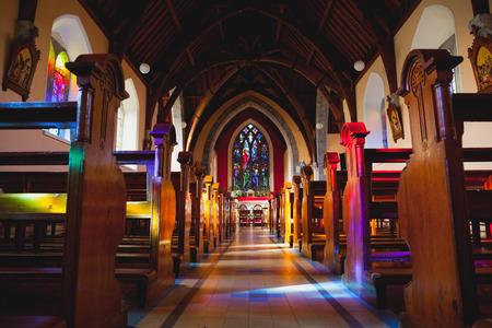 catholic wedding: Catholic Gortanumera Church interior with wedding set up, Portumna, Ireland Editorial