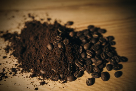 brown coffee grounds, located as a background Фото со стока