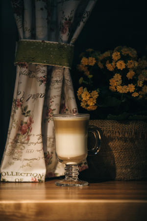 cup of latte or cappuccino coffee Фото со стока