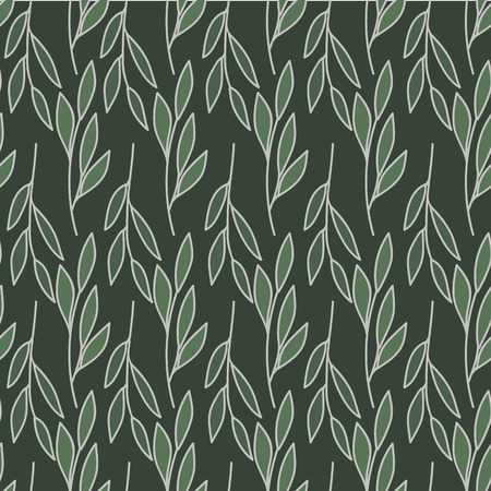 horizontal and vertical leaves stems print seamless pattern