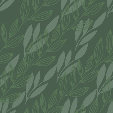 diaognal green leaves stems print seamless pattern Фото со стока