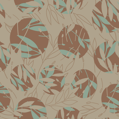 leaves in circle print seamless repeating pattern