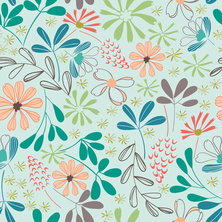 pastel floral garden seamless repeating pattern design Stock Photo