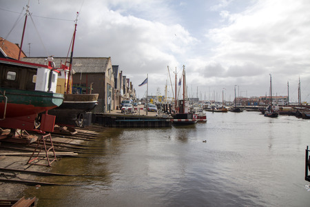 netherlands: Port in the Netherlands. Stock Photo