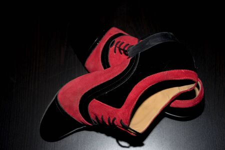 tango: Black shoes with red suede for tango dancing