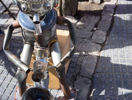 man made: Man made of tin playing the saxaphone on the street