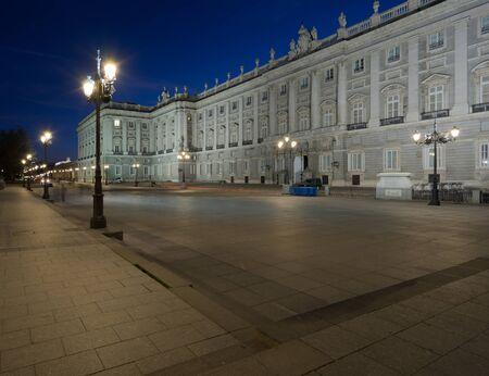 palacio: View of Palacio Real at night Editorial
