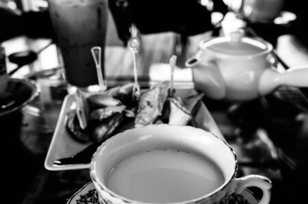 Appetizer with fresh milk in Black and White photo