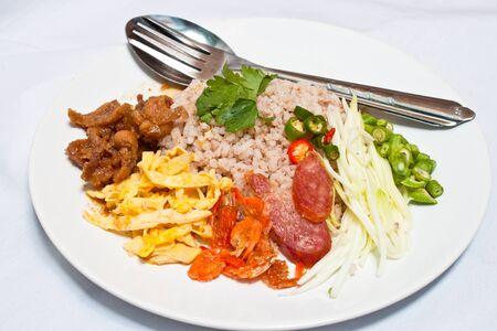 Thai fried rice on white background photo