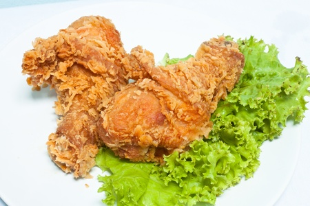 fry chicken with lettuce Stock Photo