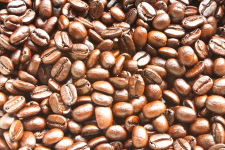Close-up of fresh roasted coffee beans Stock Photo