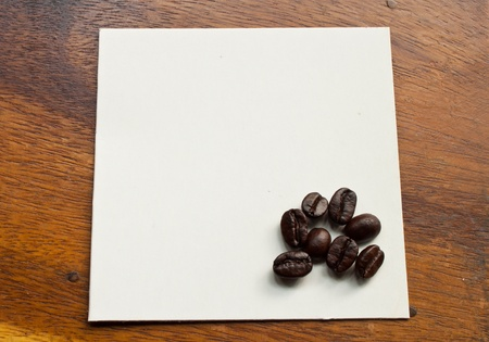 Coffee beans on  paper