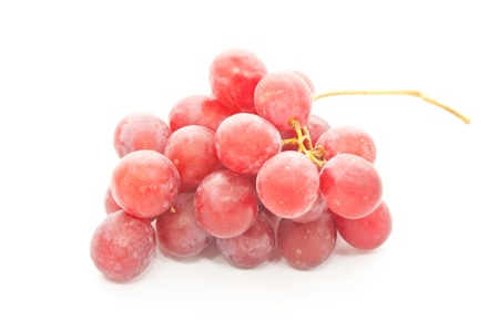 whie: bunch of red grapes on whie background Stock Photo