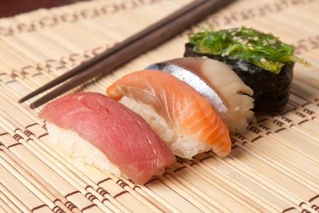 Japanese nigiri sushi lunch with chopsticks