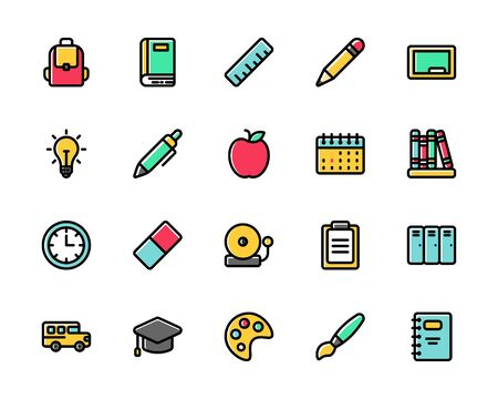 Colorful set of school icons, contain icons such as bag, locker, book, pencil, ruler, and many more. Suitable for sticker, web landing page, card