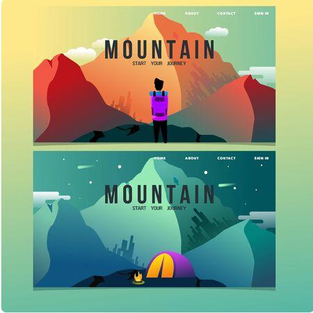 mountain climber illustration, hiking illustration, mountain landing page
