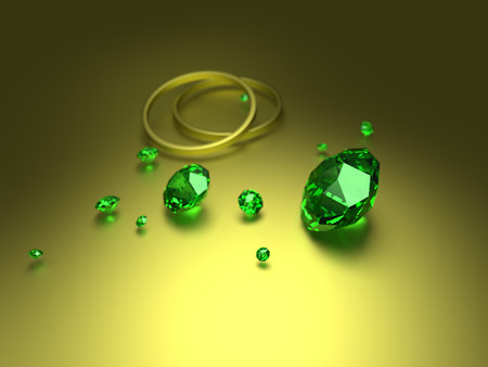 Diamonds on white background with high quality - 3D illustration Stock Photo