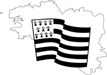 Vector flag of Brittany waving on a white background Banque d'images - 93960124