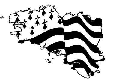 Vector vlag van Bretagne zwaaien op een witte achtergrond