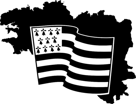 Vector flag of Brittany waving on a white background