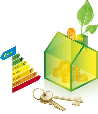 House with solar panel icon illustration on white background. Illustration