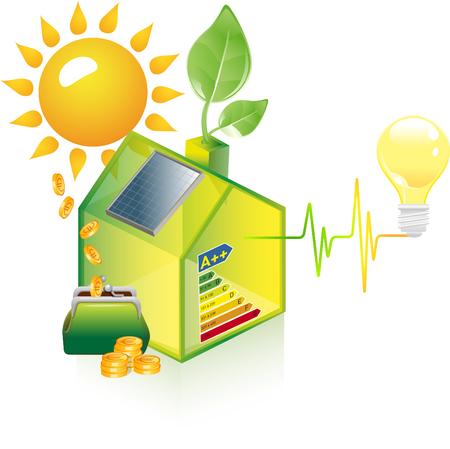 House with solar panel  イラスト・ベクター素材