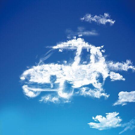 cloud shape electric car Icon Stock Photo